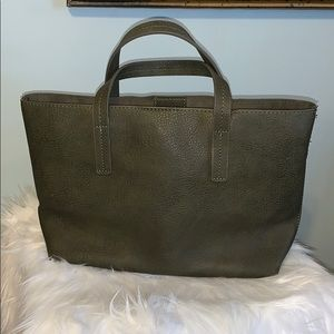 OLIVE VEGAN LEATHER TOTE